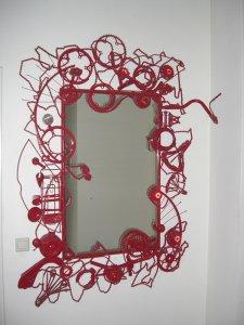 """""""Spiegel"""" materiaal: samengestelde oude metalen fietsonderdelen, spiegelglas,   175  x 150 cm"""