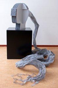 """""""Open Mind"""" materiaal: gepoedercoat staal, textiel, 100  x 85 cm"""